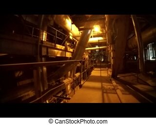 Industrial zone, Steel pipelines, valves, cables and...