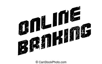 Online Banking rubber stamp. Grunge design with dust...