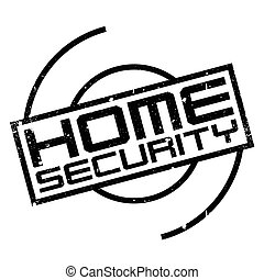 Home Security rubber stamp. Grunge design with dust...