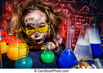 make a discovery - Funny little girl doing experiments in...
