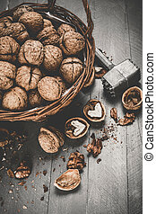 Walnut top view wicker basket on old