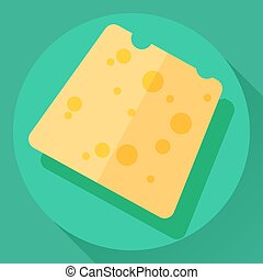 Vector cheese flat icon - Vector cheese flat cartoon style...