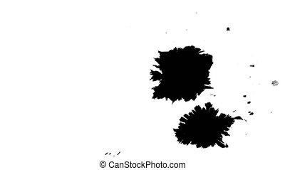 Several ink drops on the wet paper 02 - Black inks drops on...