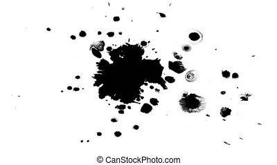 Several ink drops on the wet paper 05