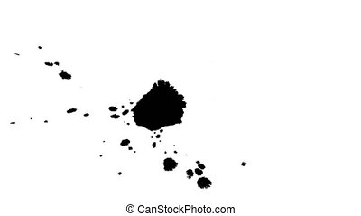 Several ink drops on the wet paper 03 - Black inks drops on...