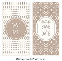 Retro invitation templates, patterned background - Two retro...