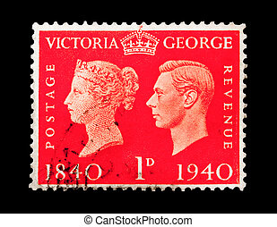 victoria and george - vintage mail stamp printed in the UK...
