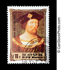 Henry VIII - mail stamp printed in North Korea featuring...