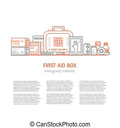 First aid box - Web page design template with text, first...