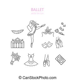 Ballet icons set - Vector Ballet line icon set with ballet...
