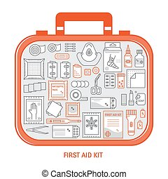 First aid kit - Red first aid kit with different objects...