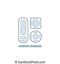 Adhesive bandage emblem. - Bandage plaster icon isolated on...