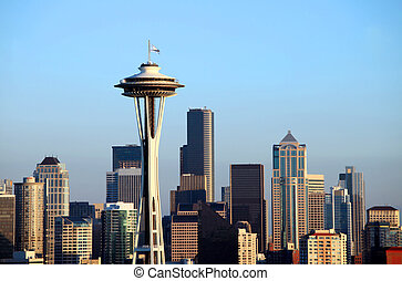 The Seattle space needle and skyline at sunset a city...