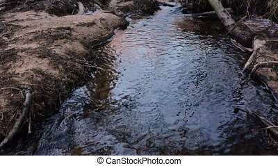 Movement of the river in the wild in early spring. Video 4k.