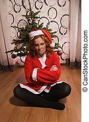 Funny looking bad santa girl