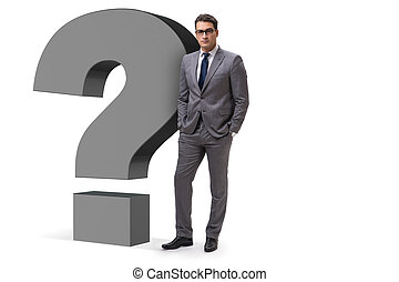 Man with question mark isolated on white