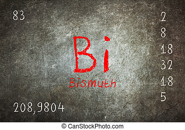 Isolated blackboard with periodic table, Bismuth, Chemistry