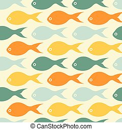 Vector seamless pattern with color fishes