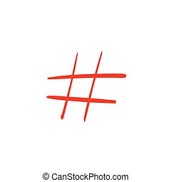 Modern flat design with hand drawn red hashtag isolated on...