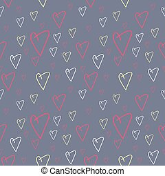 Modern flat pattern background with doodle hearts in vibrant...