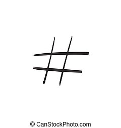 Modern flat design with hand drawn hashtag isolated on white...