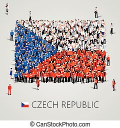 Large group of people in the shape of Czech flag. Czech...