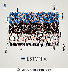 Large group of people in the shape of Estonian flag....