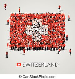 Large group of people in the shape of Swiss flag. Swiss...