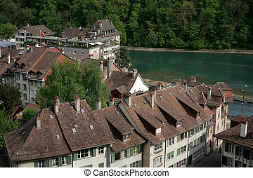 Bern, Switzerland - Street view on the old town of Bern,...