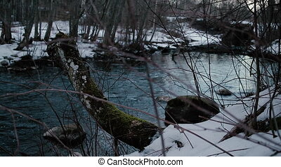 Movement of the river in the wild in early spring. Video...