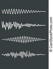Zig-zag wavy lines as a sound track or cardiogram. Vector...
