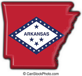 Arkansas USA State button flag map shape - 3d made
