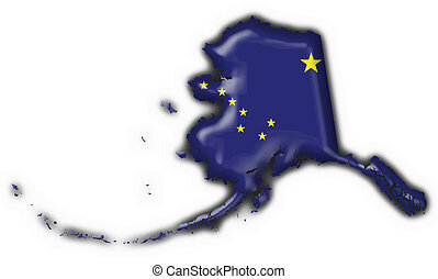 Alaska (USA State) button flag map shape - 3d made
