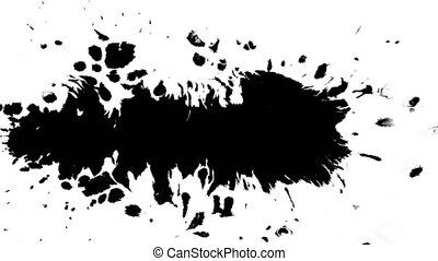 Several ink drops from right to left on wet paper 05 - Black...