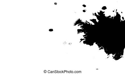 Several ink drops from right to left on wet paper 01