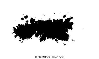 Several ink drops from right to left on wet paper 06 - Black...