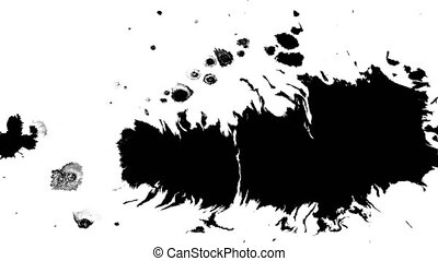 Several ink drops from right to left on wet paper 04 - Black...