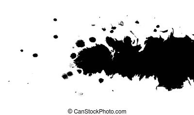 Several ink drops from right to left on wet paper 03 - Black...