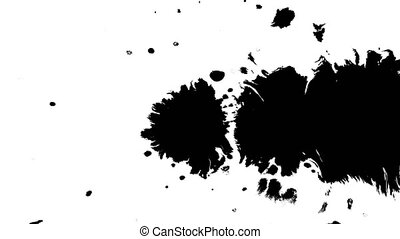 Several ink drops from right to left on wet paper 02 - Black...