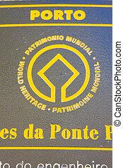 Porto, Portugal - sign of UNESCO, Porto, Douro Province,...
