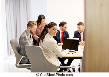ビジネス, 現代, オフィス, 仕事, 人々