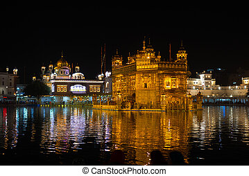 The Golden Temple at Amritsar, Punjab, India, the most...