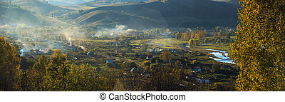 Village landscape panorama in the evening, Siberia, Russia