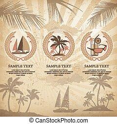 Set of travel symbols vintage