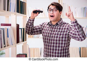 joven, biblioteca, Mirar, Libros, colegio, Estudiante