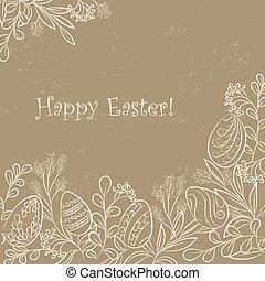 Easter plants frame grange - Easter frame with easter eggs...