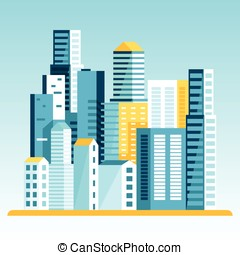 Vector illustration in  flat style - city landscape
