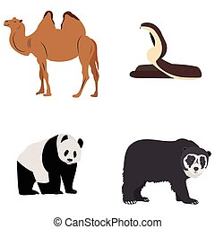 Set of zoo animals