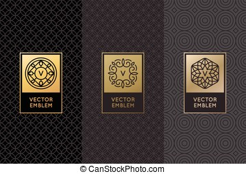 Vector set of design elements, labels and frames for...