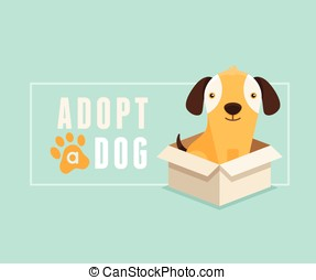 Adopt a dog banner design - Vector illustration in flat...